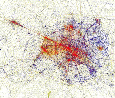 Blue represents locals, Red tourists and yellow might be either.  Notice dense blue clusters ignored altogether by tourists.  Courtesy of Eric Fischer.