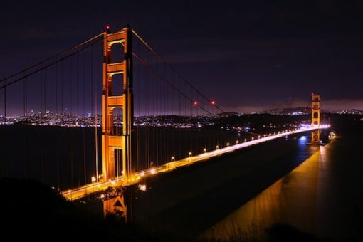 Golden Gate Bridge At Night In San Francisco