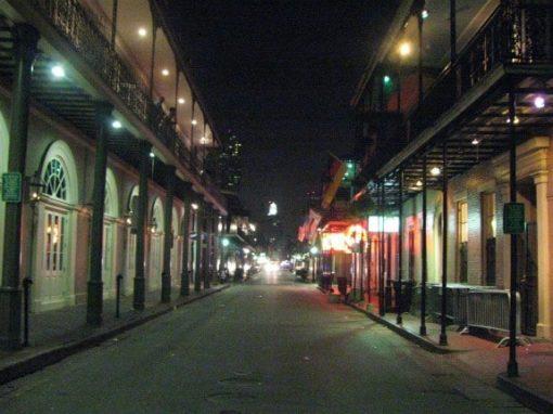 Bourbon street at night, New Orleans