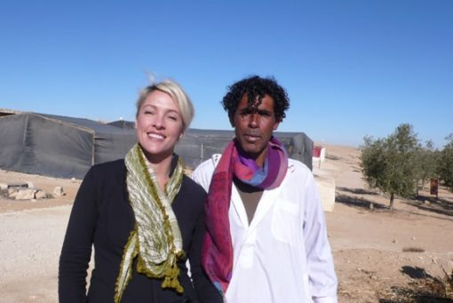 Mohammad and I at Noam Bmidbar Farm after the scarf exchange.
