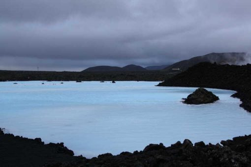 The Blue Lagoon under a dark winter sky -photo by Beth Yost