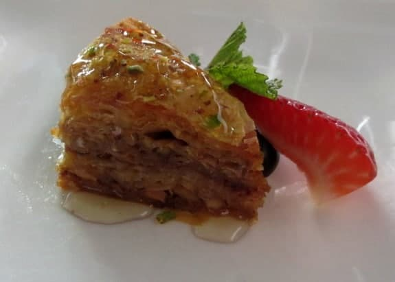 Baklava at Volos restaurant Toronto