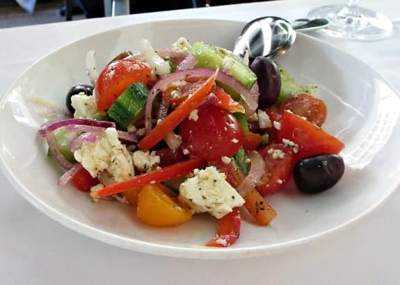Greek salad at Volos restaurant Toronto