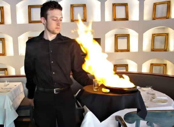 flaming at Volos restaurant Toronto