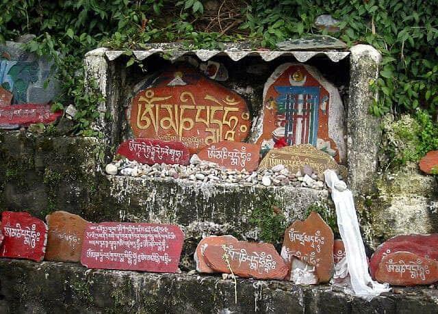 prayers-on-stones-outside-tsuglagkhang-complex