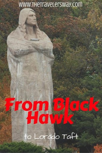 "A couple of miles north of Oregon, Illinois, ""The Eternal Indian"" (also called the Black Hawk statue) comes into view."