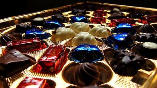 chocolates displayed at Lindt chocolate in Zurich Switzerland