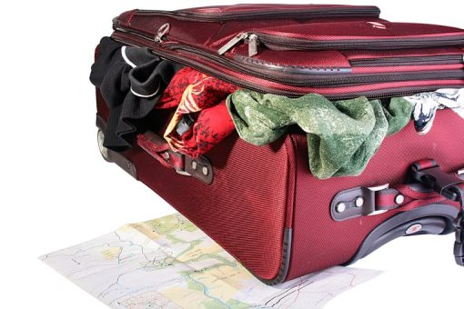 An overpacked suitcase