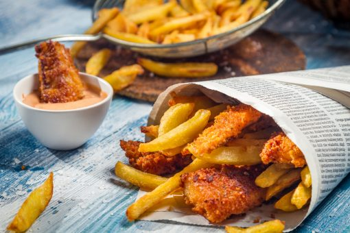 Australian fish and chips served in newspaper.