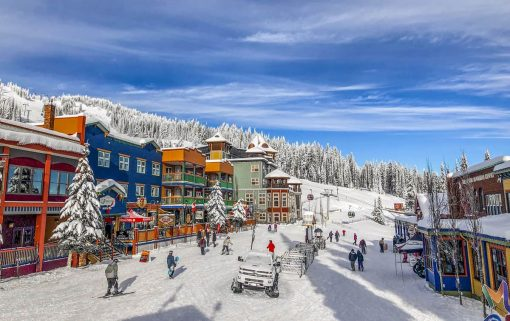 SilverStar's village with its gondola in view curing ski season